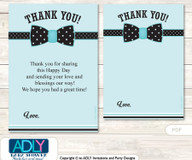 Aqua  Bow Tie Thank you Cards for a Baby Aqua Shower or Birthday DIY Black, Polka