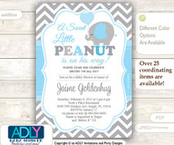 A Sweet Little Peanut Invitation, Elephant chevron grey baby blue elephant invitation, little peanut