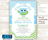 A Sweet Little Boy Owl Spring Invitation, chevron baby blue lime green owl invitation, little owl, polka dots, blossom shower