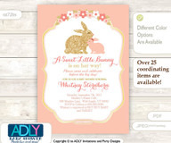 Coral Peach Little Bunny Mommy Girl Baby Shower Invitation card, A sweet Little Girl is on her way, gold, powder pink, rabbit