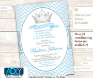 Baby Blue,Silver Prince Invitation for Royal Baby Shower Theme, powder blue,silver chevron,crown, prince, king is on his way, grey