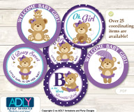 Baby Shower Purple Bear Cupcake Toppers Printable File for Little Purple and Mommy-to-be, favor tags, circle toppers, Polka, Turquoise