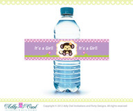 Cocalo Jacana Water Bottle Wraps Labels for Girl Monkey Baby Shower Printables for Girl DIY, lilac,soft pink,purple  - ONLY digital file