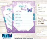 Purple Butterfly Wishes for a Baby, Well Wishes for a Little Butterfly Printable Card, Turquoise, Bokeh