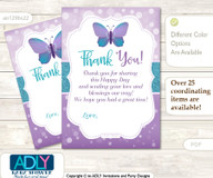Purple  Butterfly Thank you Cards for a Baby Purple Shower or Birthday DIY Bokeh, Turquoise