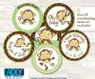 Baby Shower Neutral Monkey Cupcake Toppers Printable File for Little Neutral and Mommy-to-be, favor tags, circle toppers, Polka, Brown