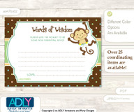 Brown Neutral Monkey Words of Wisdom or an Advice Printable Card for Baby Shower, Polka