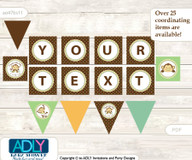 Personalized Neutral Monkey Printable Banner for Baby Shower, Brown, Polka