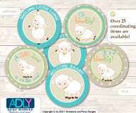 Baby Shower Neutral Lamb Cupcake Toppers Printable File for Little Neutral and Mommy-to-be, favor tags, circle toppers, Beige, Polka