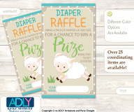 Neutral Lamb Diaper Raffle Printable Tickets for Baby Shower, Polka, Beige