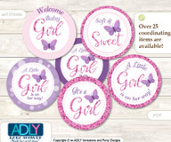 Baby Shower Girl Buttefly Cupcake Toppers Printable File for Little Girl and Mommy-to-be, favor tags, circle toppers, Bokeh, Purple Pink