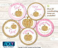 Baby Shower Girl Pumpkin Cupcake Toppers Printable File for Little Girl and Mommy-to-be, favor tags, circle toppers, Glitter, Pink Gold