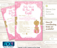 Printable Girl Pumpkin Price is Right Game Card for Baby Pumpkin Shower, Pink Gold, Glitter
