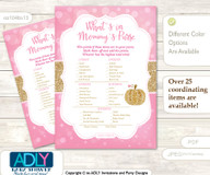 Girl Pumpkin What is in Mommy's Purse, Baby Shower Purse Game Printable Card , Pink Gold,  Glitter