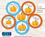 Baby Shower Boy Pumpkin Cupcake Toppers Printable File for Little Boy and Mommy-to-be, favor tags, circle toppers, Chevron, Blue Orange
