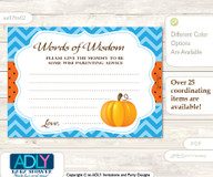 Blue Orange Boy Pumpkin Words of Wisdom or an Advice Printable Card for Baby Shower, Chevron