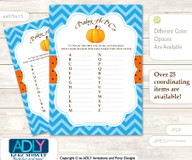 Boy Pumpkin Baby ABC's Game, guess Animals Printable Card for Baby Pumpkin Shower DIY –Chevron