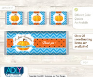 Boy Pumpkin Chocolate Bar Wrapper and Nuggets Candy Wrapper Label for Baby Boy Shower  Blue Orange , Chevron