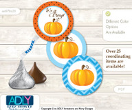 Printable  Boy Pumpkin Candy Kisses for Baby Boy Shower DIY Blue Orange , Chevron