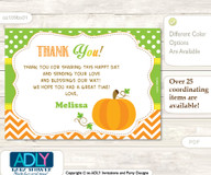 Neutral Pumpkin Thank you Printable Card with Name Personalization for Baby Shower or Birthday Party