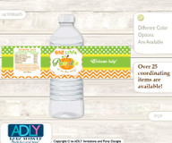 Neutral Pumpkin Water Bottle Wrappers, Labels for a Pumpkin  Baby Shower, Green Orange, Chevron