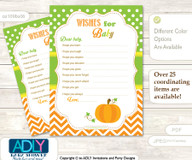 Neutral Pumpkin Wishes for a Baby, Well Wishes for a Little Pumpkin Printable Card, Chevron, Green Orange