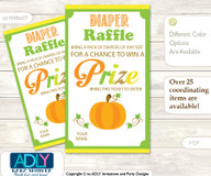 Neutral Pumpkin Diaper Raffle Printable Tickets for Baby Shower, Green Orange, Chevron