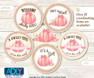 Baby Shower Girl Pumpkin Cupcake Toppers Printable File for Little Girl and Mommy-to-be, favor tags, circle toppers, Glitter, Pink
