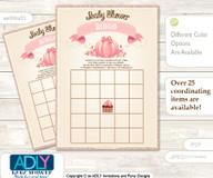 Printable Pink Pumpkin Bingo Game Printable Card for Baby Girl Shower DIY grey, Pink, Glitter