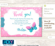 Butterfly Thank you Printable Card with Name Personalization for Baby Shower or Birthday Party