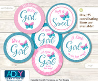 Baby Shower Pink Butterfly Cupcake Toppers Printable File for Little Pink and Mommy-to-be, favor tags, circle toppers, Glitter, Turquoise