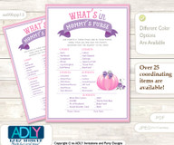 Girl Pumpkin What is in Mommy's Purse, Baby Shower Purse Game Printable Card , Pink,  Puprle