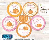Baby Shower Girl Pumpkin Cupcake Toppers Printable File for Little Girl and Mommy-to-be, favor tags, circle toppers, Orange, Pink