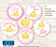 Baby Shower Gold Pumpkin Cupcake Toppers Printable File for Little Gold and Mommy-to-be, favor tags, circle toppers, Polka, Pink