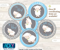Baby Shower Boy Lamb Cupcake Toppers Printable File for Little Boy and Mommy-to-be, favor tags, circle toppers, Polka, Blue Grey