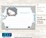 Blue Grey Boy Lamb Words of Wisdom or an Advice Printable Card for Baby Shower, Polka