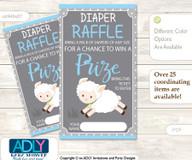 Boy Lamb Diaper Raffle Printable Tickets for Baby Shower, Blue Grey, Polka