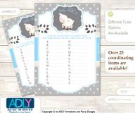 Boy Lamb Baby ABC's Game, guess Animals Printable Card for Baby Lamb Shower DIY –Polka