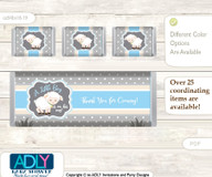 Boy Lamb Chocolate Bar Wrapper and Nuggets Candy Wrapper Label for Baby Boy Shower  Blue Grey , Polka
