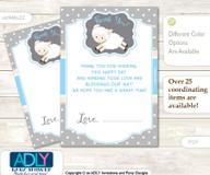 Boy  Lamb Thank you Cards for a Baby Boy Shower or Birthday DIY Blue Grey, Polka