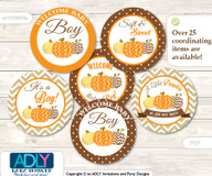 Baby Shower Boy Pumpkin Cupcake Toppers Printable File for Little Boy and Mommy-to-be, favor tags, circle toppers, Chevron, Orange Brown