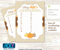 Boy Pumpkin Baby ABC's Game, guess Animals Printable Card for Baby Pumpkin Shower