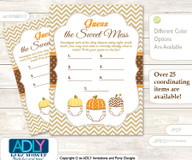 Boy Pumpkin Dirty Diaper Game or Guess Sweet Mess Game for a Baby Shower Orange Brown, Chevron