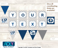 Personalized Peanut Elephant Printable Banner for Baby Shower, Dark Blue, Chevron