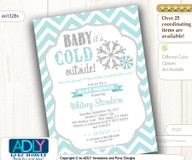 Tiffany Blue Snowflake Invitation for Winter Baby Shower, gender neutral