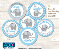 Baby Shower Boy Elephant Cupcake Toppers Printable File for Little Boy and Mommy-to-be, favor tags, circle toppers, Chevron