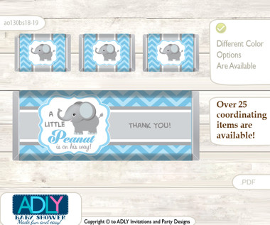 Boy elephant chocolate bar wrapper and nuggets candy for Candy bar wrappers template for baby shower printable free