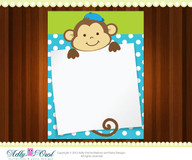 Boy Monkeys Note card  for ANY comments, notes, wishes, thank you DIY  - ONLY digital file - you print
