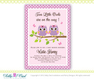 Twin Girl Owls Invitation for a Baby Shower in Lilac/Purple and Pink Polka
