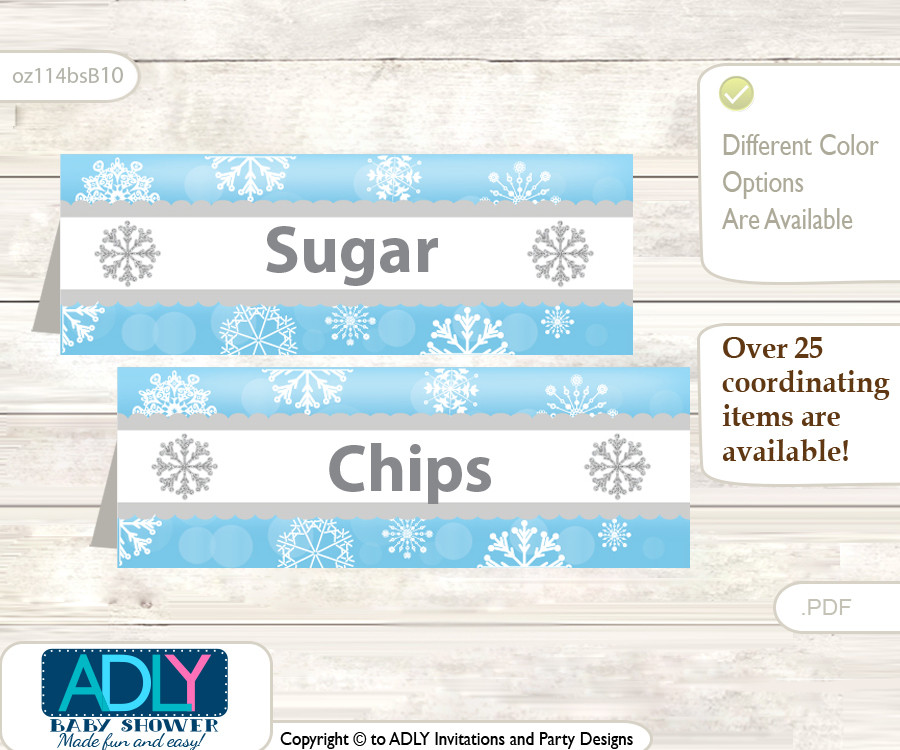 Printable Boy Snowflake Buffet Tags Or Food Tent Labels